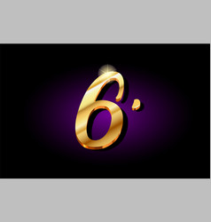 6 six number numeral digit golden 3d logo icon vector image