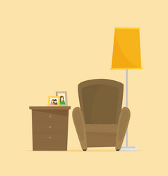 a living room arrangement with armchair reading vector image