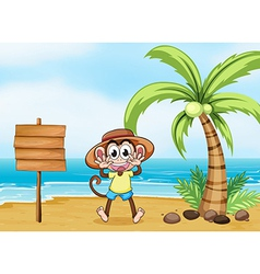 A monkey at the beach and the empty board vector image