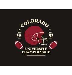 American football university championship badge vector image