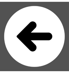 Arrow Left flat black and white colors round vector