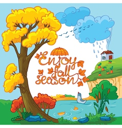 Autumn card vector image