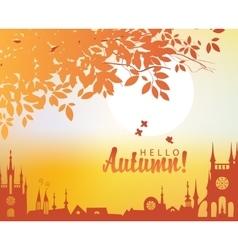Autumn town landscape vector