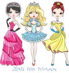 Beautiful fashion girl princesses vector