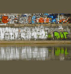 beautiful street art graffiti on wall in river vector image