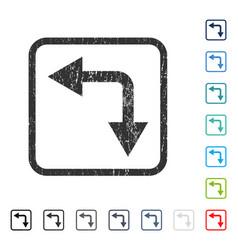 Bifurcation arrow left down icon rubber watermark vector