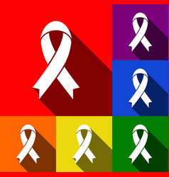 black awareness ribbon sign set of icons vector image