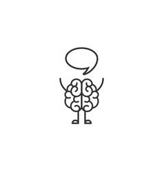 black line brain character with hands legs and vector image