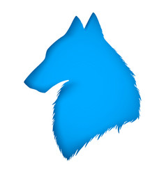 blue wolf carved from paper vector image