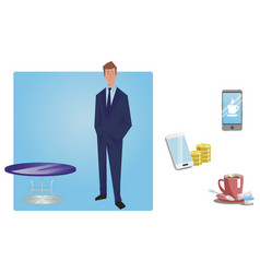 Businessman manager in a business suit stands vector