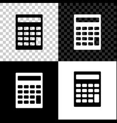 calculator icon isolated on black white and vector image