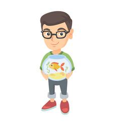 Caucasian boy holding aquarium with goldfish vector