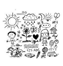 Children hand draw doodle icon vector