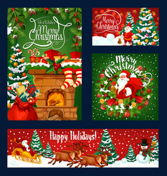 christmas chimney santa and gifts vector image