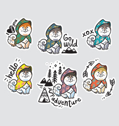collection of stickers with funny husky puppies in vector image