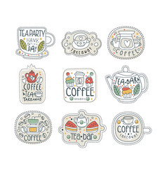 Cute hand drawn set of coffee and tea labels for vector