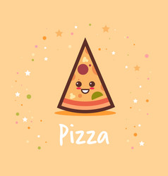 Cute hot pizza slice cartoon comic character vector