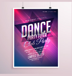 Dance club party flyer template vector