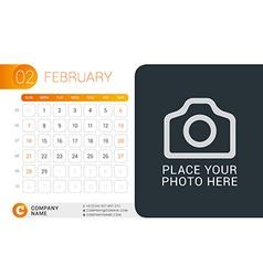 Desk Calendar for 2016 Year February Design Print vector