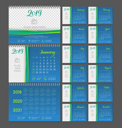 Desktop calendar 2019 year copy space vector