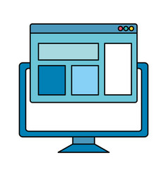 Desktop computer with webpage template vector