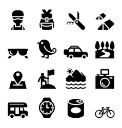 Discovery traveling camping adventure icons vector