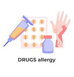 drugs allergy skin rash or allergic reaction to vector image