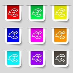 Euro EUR icon sign Set of multicolored modern vector image