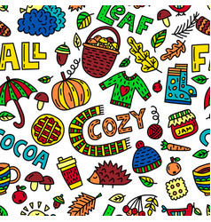 Fall doodle seamless pattern vector