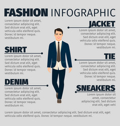fashion infographic with happy teacher man vector image