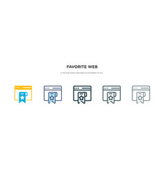 Favorite web icon in different style two colored vector