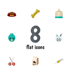 Flat icon pets set of osseous fish nutrient dog vector