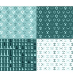 Four seamless Christmas patterns vector image