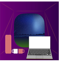 From the tent night landscape vector