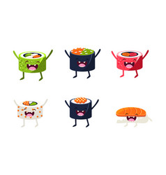 funny sushi characters set asian food with cute vector image