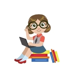 Girl in glasses reading vector