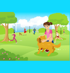 Girl with her dog in the city park vector