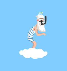 God character in action on white cloud almighty vector