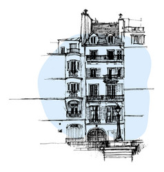 Hand drawn paris house townhouse urban sketch vector