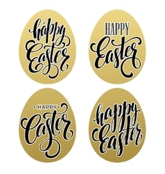 happy easter calligraphic lettering egg golden vector image