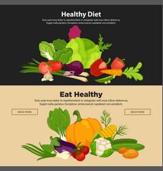 Healthy diet vegetables organic food banners fresh vector