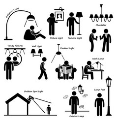 home house lighting lamp designs stick figure vector image