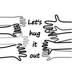 hug doodles lines hands horizontal poster with vector image