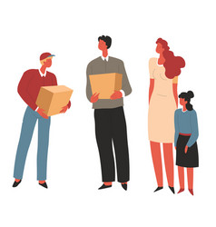 Humanitarian help for poor family delivery box vector