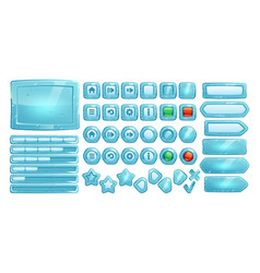 Ice buttons for ui game gui elements vector