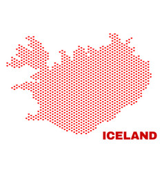 iceland map - mosaic of valentine hearts vector image