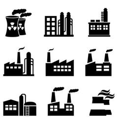 Industrial buildings power plants and factory vector