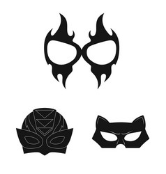 Isolated object of hero and mask sign collection vector