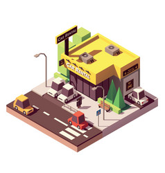 Isometric car rental office vector