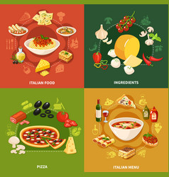 Italian food 2x2 design concept vector